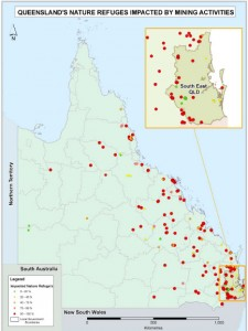 Queensland Nature Refuges impacted by coal exploration permits (2009). Representative distribution, showing a portion of actual number (2009)4.