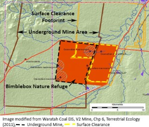 Overlaps,Bimblebox and Undergnd Mine (black dashed line), and Surface Clearing (yellow dashed line).